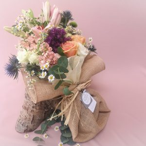 rustic, natural, wildflowers, jute, bouquet