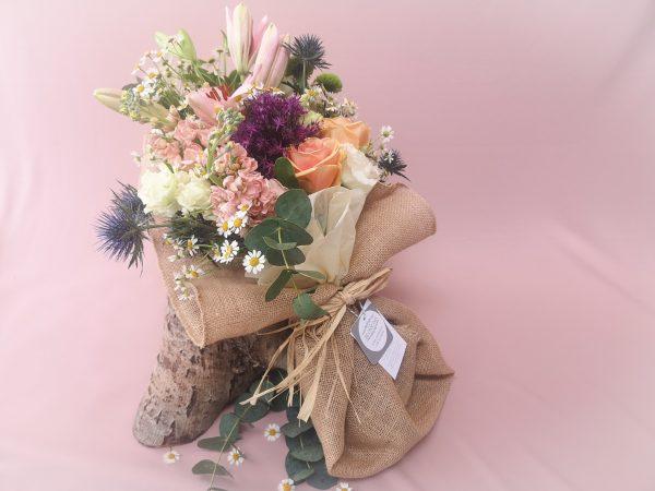 rustic, natural, wildflowers, jute, bouquet