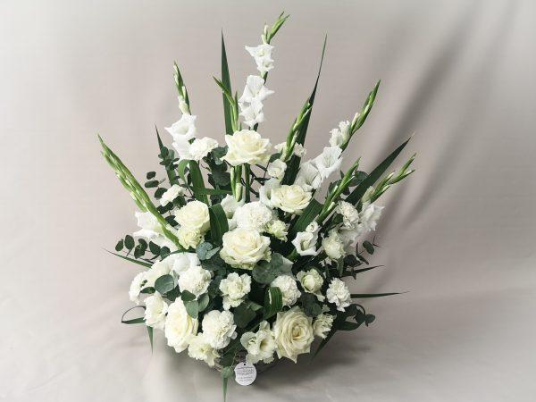 basket, arrangement, funeral, sympathy flowers