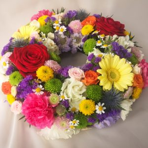 wreath, colourful, bright, sympathy, flowers, florist, ballina, mayo