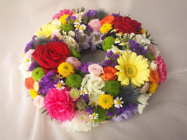 wreath, colourful, bright, sympathy, flowers, florist, ballina, mayo